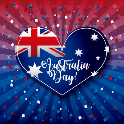australia day heart flag confetti stripes background vector illustration